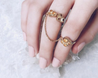 Barnacle Ring, Gold Chain Ring, Double Rings, Sea Shell Ring, Mermaid Ring, Sea Jewelry, Barnacles, Gold Stacking Rings, Womens Jewelry