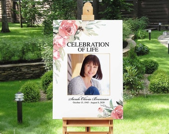 Celebration Of Life Poster Memorial Template Eucalyptus Greenery Funeral Welcome Sign Photo Board,In Loving Memory Botanical Succulents