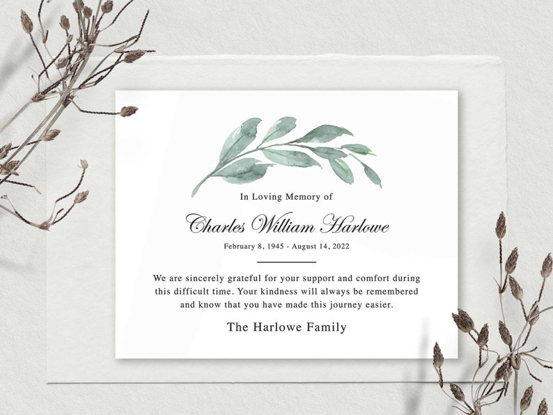 Funeral Thank You and Bereavement Notes Sympathy Acknowledgement Cards Personalized Greenery Eucalyptus Customized Wording For A Funeral