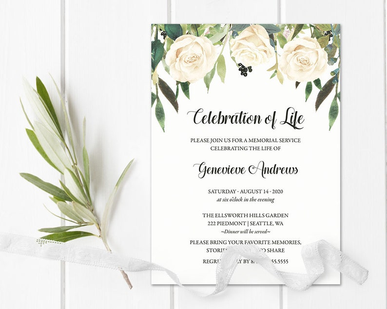Celebration Of Life Invitation Template Funeral Announcement Etsy