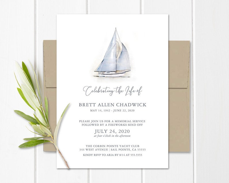 Nautical Celebration Of Life Invitation Funeral Announcement Memorial Template Sailboat Obituary Printed Or PDF JPG File