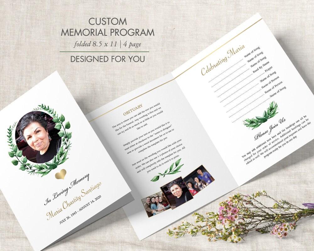 Funeral Program Funeral Folder Celebration Of Life Order Of Etsy