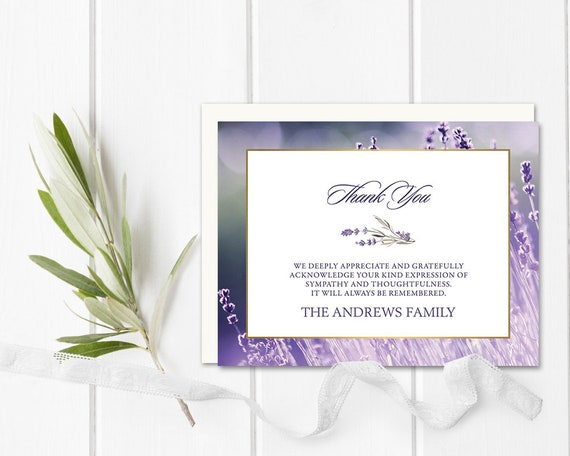 Funeral Thank You Cards Sympathy Acknowledgement Cards Etsy