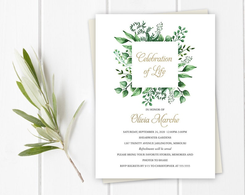 Celebration Of Life Invitation Template Printable Or Printed Funeral Announcement Memorial Service Greenery Foliage Mourning Cards