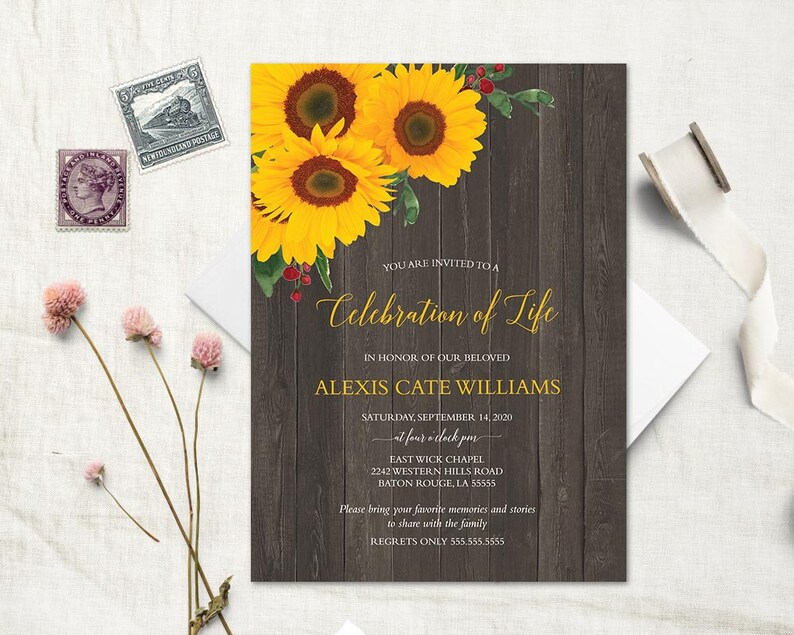 Sunflower Funeral Announcement Invitation Template Mourning Invitation Cards Memorial Service In Loving Memory Funeral Invite Printed Option