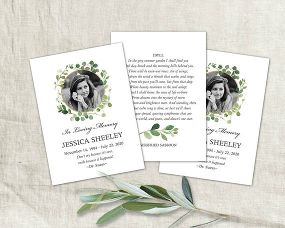 Funeral Card Printable Mass Card with Photo Custom Design | Etsy
