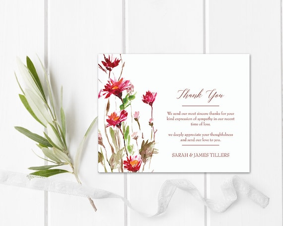 image relating to Sympathy Card Printable named Floral Bereavement Sympathy Card Memorial Services Printable Template Obituary Thank By yourself Revealed or Do it yourself Electronic Funeral Acknowledgement Card