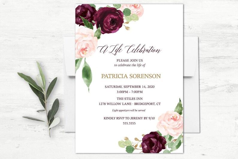 Celebration Of Life Memorial Invitation Printable Funeral Etsy