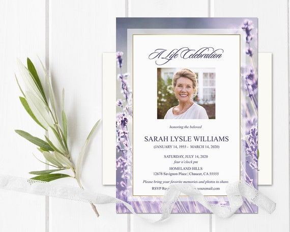 Celebration of Life Invitations Funeral Announcement | Etsy