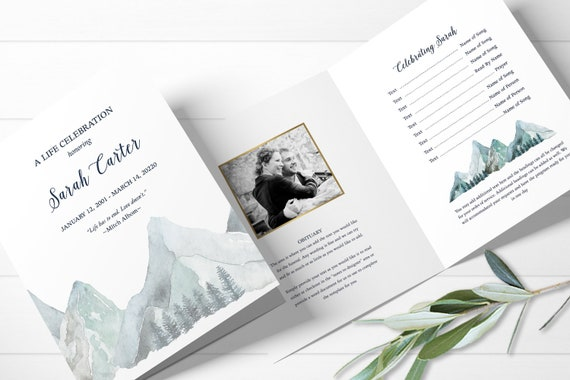 Mountain Funeral Program Template Order Of Service Memorial Programs Memorial Service Funeral Templates Celebration Of Life Ideas