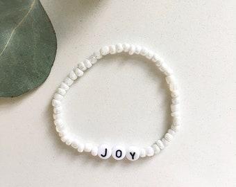 Neutral Custom Beaded Name Bracelets | Custom Word Beaded Bracelets | Name Bracelet | EunoiaAndCo
