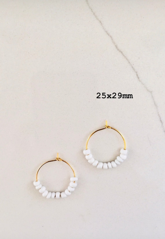 HANDMADE trendy 29x29mm hoop earrings gold seed bead lightweight gold hoop earrings EunoiaAndCo earrings!!