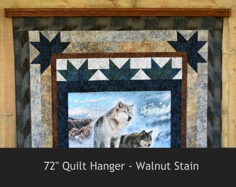 Quilt Hanger for Wall, Oak - 61 to 72""