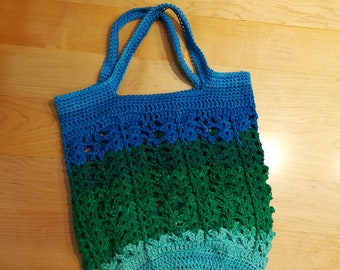 Blue Green Cotton Crochet Bag Fashion Accessory with Handles Soft and Sturdy Colorful Ombre Book Bag Stretchy Market Grocery Shopping tote