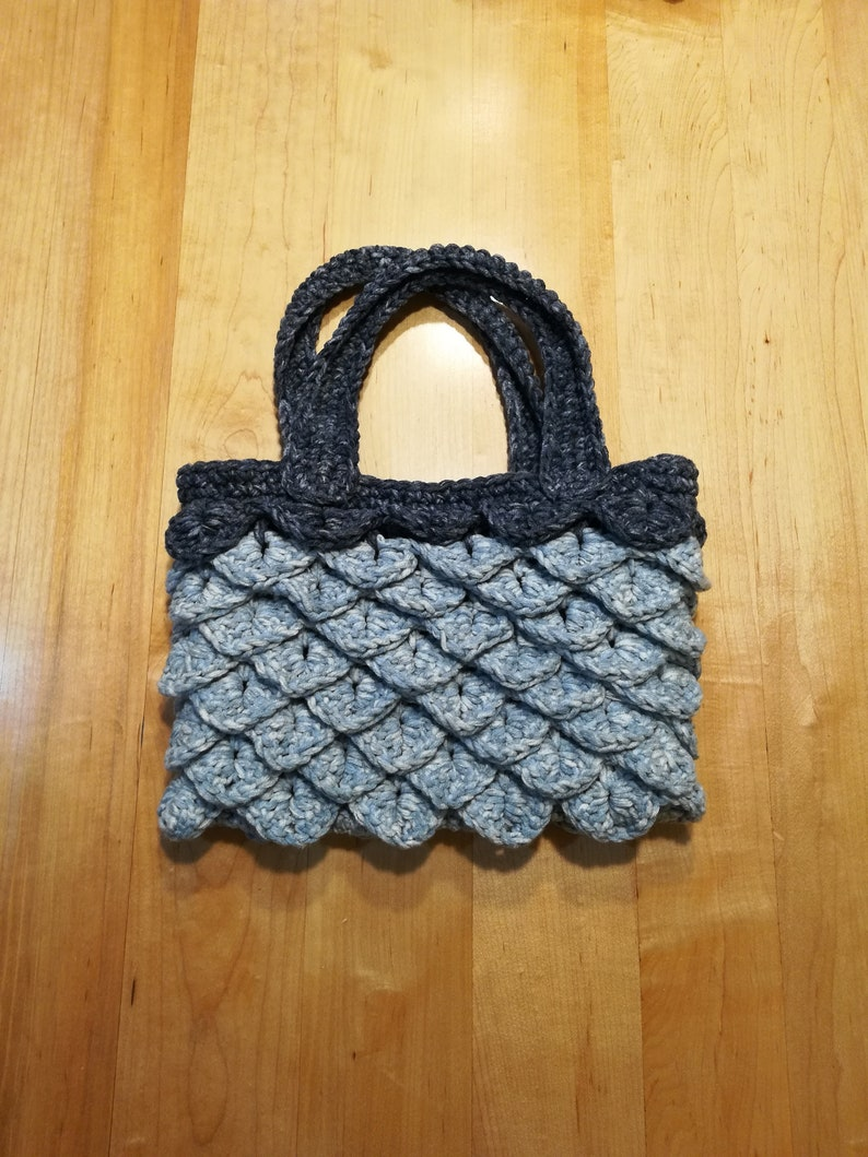 Crocodile Stitch Handbag Unique Crochet Purse Chunky Yarn Art  8a97dbd9c63d8