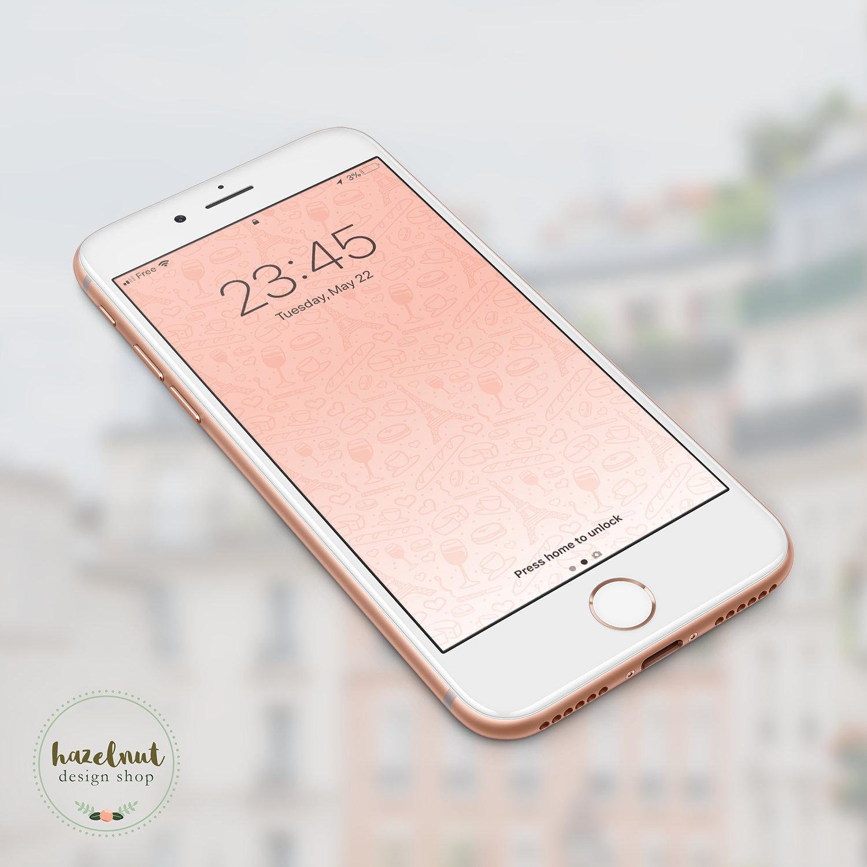 Wallpaper Ombre: Paris Pink Ombre IPhone Wallpaper Digital Product