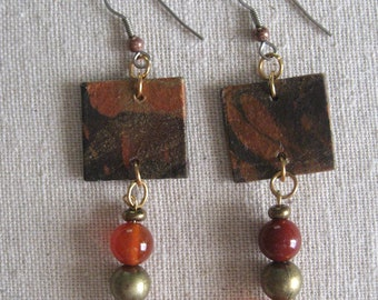 """Earrings: momigami paper, red agate and antique brass beads, drop length 2.25"""""""