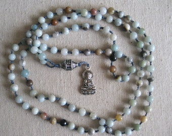 """Mala:  Amazonite-mixed color, 6mm, Guan Yin amulet. 39"""" long. Use as a meditation aid or as a necklace. Free shipping in U.S."""
