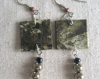 """Earrings:  Hand-painted mulberry paper; titanium pyrite and glass beads, drop length 2"""""""