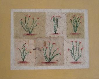"Art: Flora. ""Ocotillo After Rain"" mixed media on canvas, 14"" x 11"" x .5"""