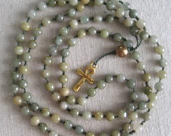 "Mala.  Burmese jade, 108 5mm beads,  Egyptian ankh amulet, 36"" long"