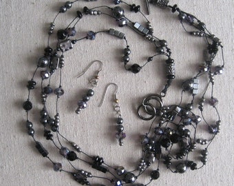 """Necklace earring set: hematite, glass, metal, and crystal beads, 4 strands, 23"""""""