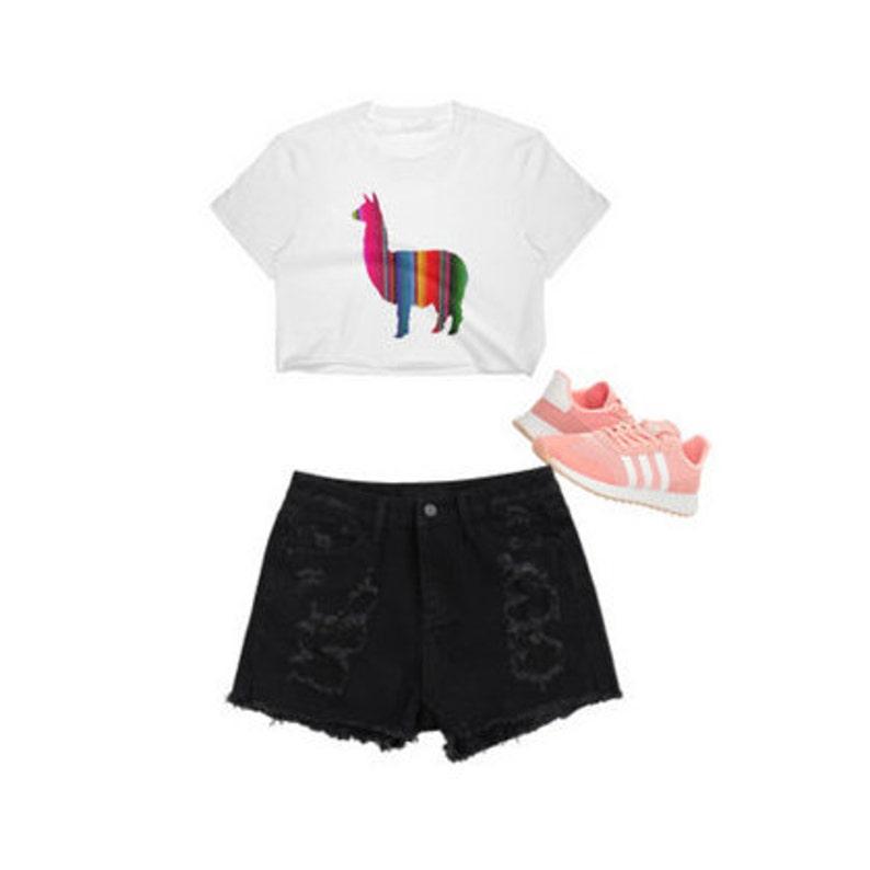8c4102b928b Llama Crop Top Llama Shirt Llama Top Colorful Llama Vans | Etsy
