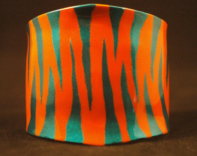 Colored Brass Cuff-Acrylic Orange and Turquoise Tiger Stripes on Nu Gold Brass Hand Forged and Painted Created by Michael Ferreira on Etsy