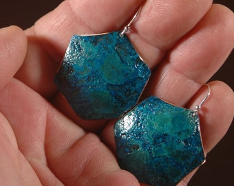 Patinated Copper Earrings-Handmade Hexagon Forged and Patinated Copper Earrings Created my Michael Ferreira on Etsy