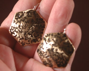 Bronze Earrings-Hexagon Shape Hammered and Forged Handmade Antiqued Earrings Created by Michael Ferreira on Etsy