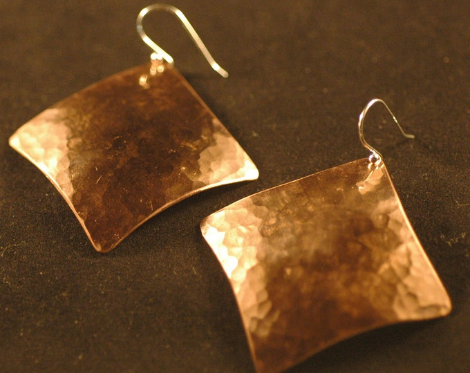 Large Square Copper Earrings-Handmade Diamond Shaped Forged and Hammered Copper Earrings Created my Michael Ferreira on Etsy