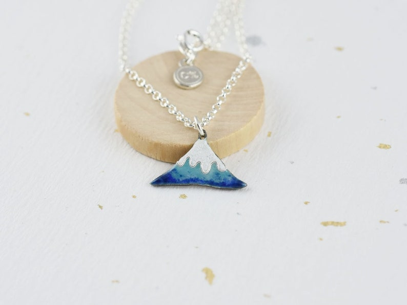 Enamel Pendant Necklace, Silver Droplet Necklace, Glass Necklace Mount Fuji C percent Handmade Jewelry