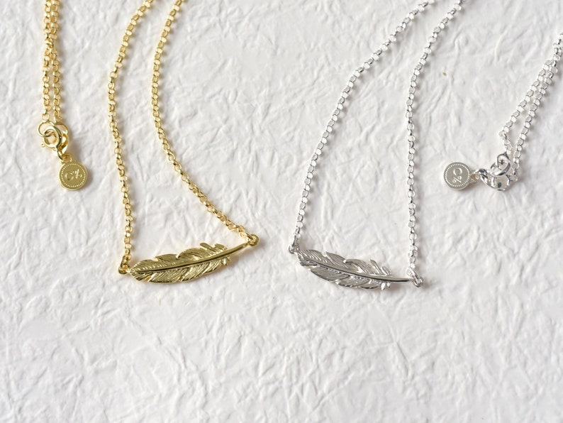C percent Handmade Jewelry Feather 925 Sterling Silver Pendant Necklace, Charm Necklace, Simple Droplet Necklace