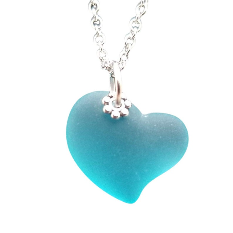 Heart of the Sea Turquoise Bay Blue sea glass necklace hand made