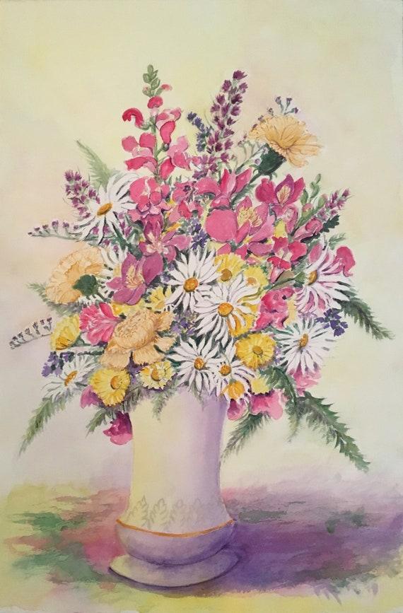 Flowers In Tall Vase Etsy