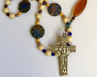 Deluxe Anglican Rosary, Unbreakable, Authentic Bronze Cross, recast of Celtic w/ front-face insets, Sacred, prayer beads, Protestant, faith