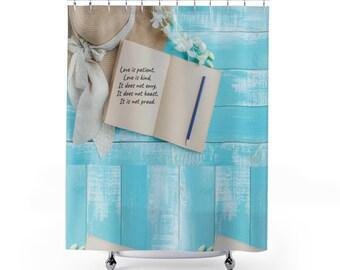 Love Shower Curtain Scripture Bible Verse Beach House Christian Bath Set Cottage Chic