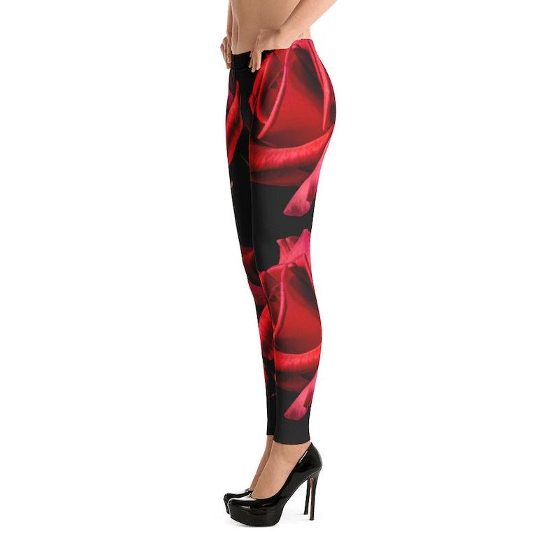 eb16c75e8d45c Rose Flower Leggings Black Red Leggings Womens Original Design Leggings  Teen Leggings Statement Leggings Gift for Her Teen Girl Gift