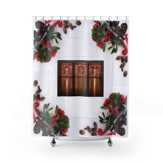 Joy Shower Curtain Christmas Bath Decor Bathroom