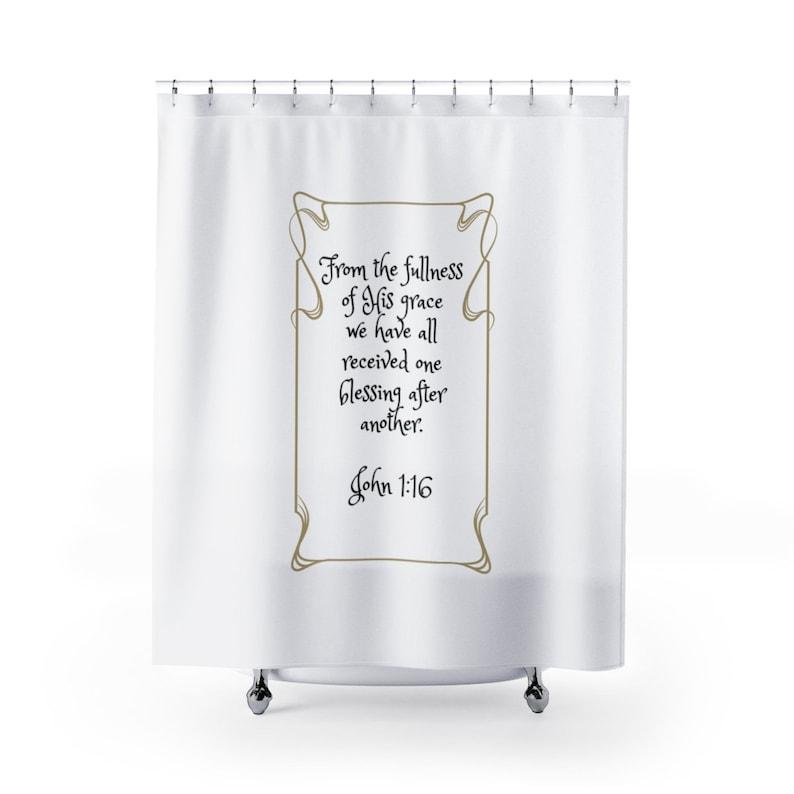 Scripture Shower Curtains Inspirational Bible Verse