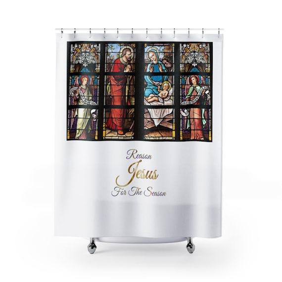 Christmas Shower Curtain Jesus Christian
