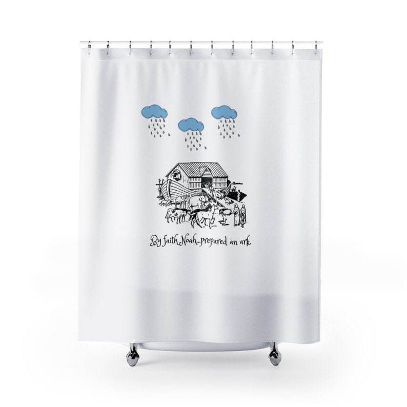 NoahS Ark Shower Curtain Bible Verse Bath Decor Kids Bi