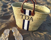 Personalized straw basket leather Straw Totes Custom hand painted summer handbag French market basket panier personnalisé bridesmaids