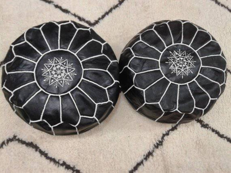 Pouf In Pelle.Moroccan Leather Pouf Ottoman Black Handmade Genuine Footstool Etsy