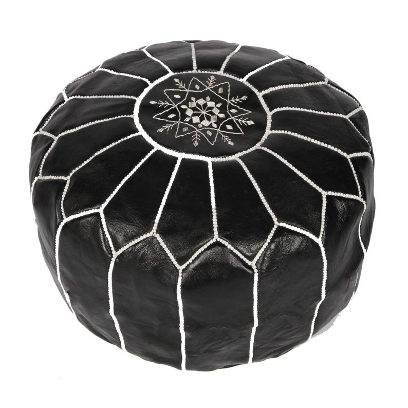 """Authentic Goat Skin Leather Moroccan Flair Bedroom /& Living Room Round Ottoman 20/"""" x 20/"""" x 14/"""" Eco-Friendly Materials Genuine Handmade Moroccan Leather Pouf Navy Blue"""