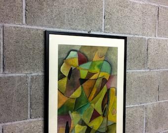 Oil framework on framed paper with 60X50 glass
