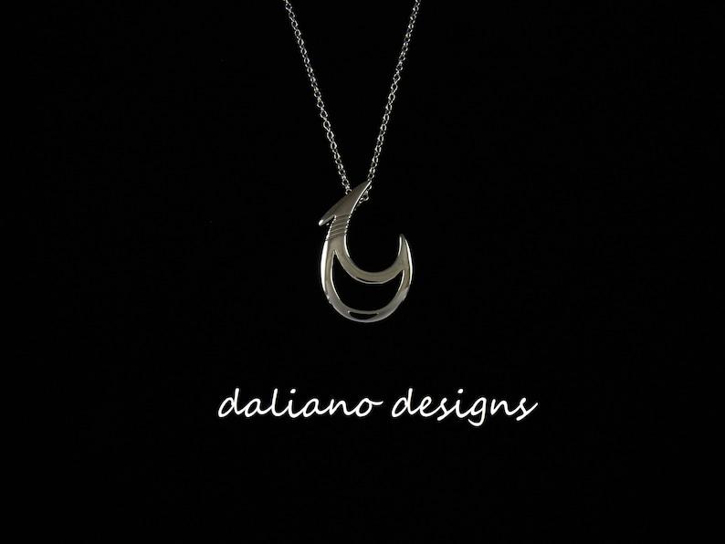 925 Sterling Silver w Rhodium Plating to prevent tarnish. Hawaiian /& Island inspired jewelry designs Fish Hook Pendant w Chain