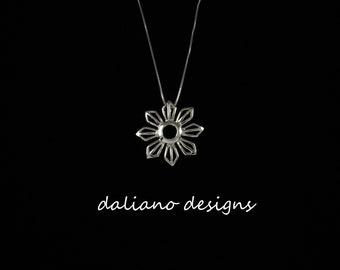 Fili Sun Pendant w/ Chain. Island & Philippine inspired jewelry. 925 Sterling Silver w/ Rhodium Plating to prevent tarnish.