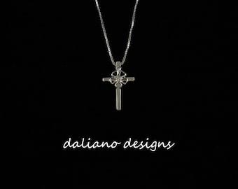 "Hibiscus Cross Pendant 7/8""L (8mm flower). Hawaiian inspired jewelry design. 925 Sterling Silver w/ Rhodium plating to prevent tarnish."