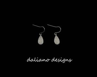 CZ Pave Earrings w/ Hook, Teardrop Shape 14mmLx7mmW. 925 Sterling Silver w/ Rhodium Plating to prevent tarnish.